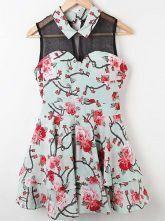 Blue Floral Lapel Sleeveless Chiffon Tiered Dress