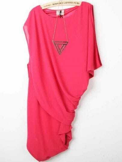 Hot Pink Asymmetric Round Neck Bat Sleeve Chiffon Dress