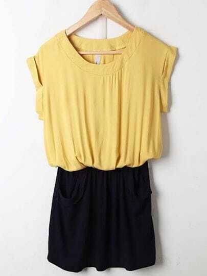 Yellow and Black Pleated Round Neck Bat Sleeve Chiffon Dress