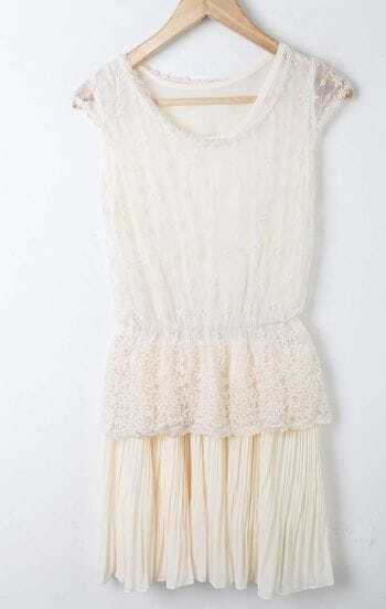 Beige Lace Patched Round Neck Pleated Chiffon Tank Dress