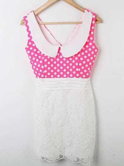 Pink Polka Dot Lace Patched Doll Collar Chiffon Tank Dress