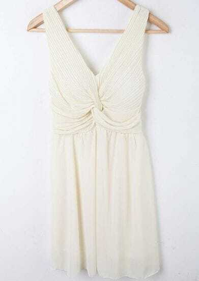 Beige Pleated High Waist V-shape Chiffon Tank Dress