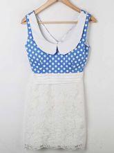 Blue Polka Dot Lace Patched Doll Collar Chiffon Tank Dress