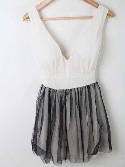 White Pleated V-shape Chiffon Tank Dress With Net Yarn