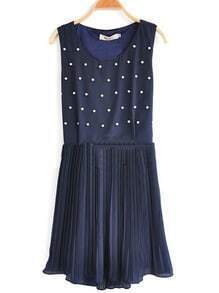 Navy Polka Dot Pleated Round Neck Chiffon Tank Dress