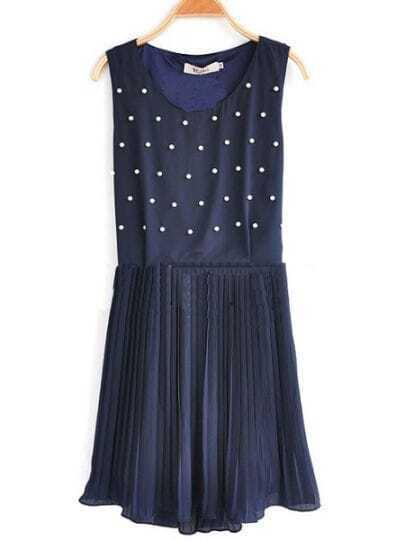Navy Polka Dot Pleated Round Neck Chiffon Tank Dress