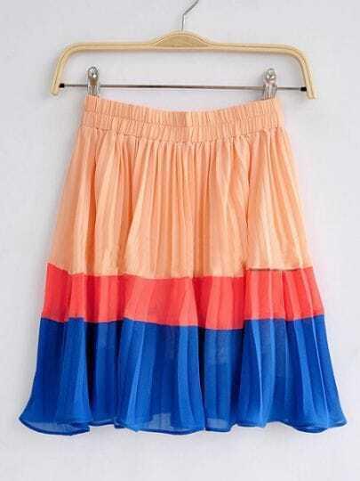 Orange Red and Blue Pleated High Waist Chiffon Skirt
