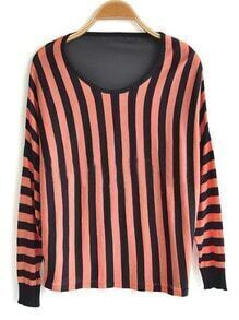 Red Strip Round Neck Long Sleeve Sweater
