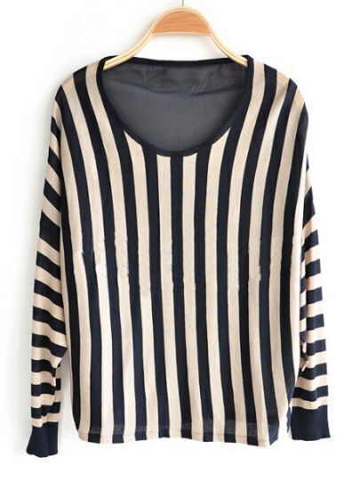 Brown Strip Round Neck Long Sleeve Sweater