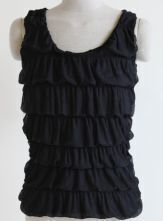 Black Tiered Ruffle Bubble Tank Top