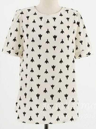 White Roll Short Sleeve Flower Print Zip Back Chiffon Blouse
