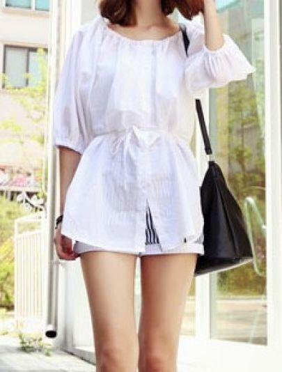 White Puff Sleeve Drawstring Curved Hem Shirt