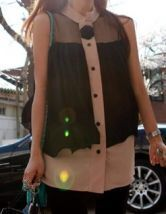 Coffee Sleeveless Rosette Chiffon Pleated Layer Shirt