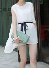 White Sleeveless Chiffon Sheer Blouse with Self-tie Belt