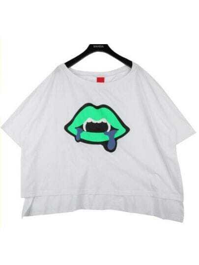White Round Neck Short Sleeve Cartoon Print Asymmetrical Cotton T-Shirt
