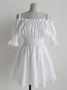 White Off The Shoulder Starp Puff Sleeve High Waist Flare Dress