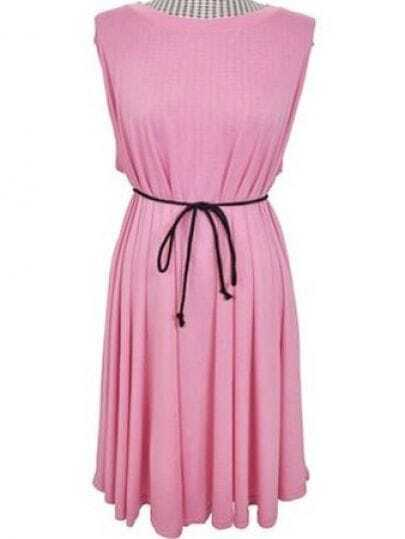 Pink Sleeveless Flare Cut Out Back Belted Dress