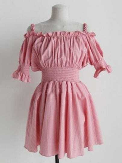 Pink Off The Shoulder Starp Puff Sleeve High Waist Flare Dress