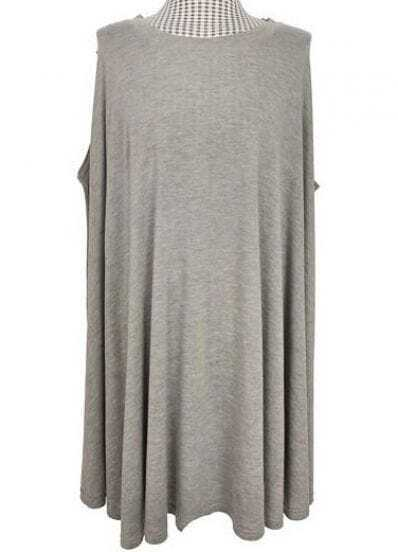 Grey Sleeveless Flare Cut Out Back Belted Dress