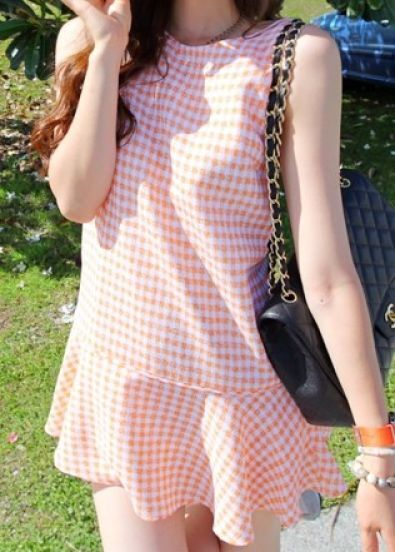 Orange Boat Neck Sleeveless Check Print Skate Dress