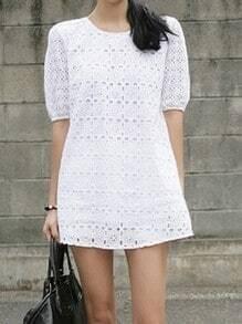 White Puff Short Sleeve Crochet Flower Shift Short Dress