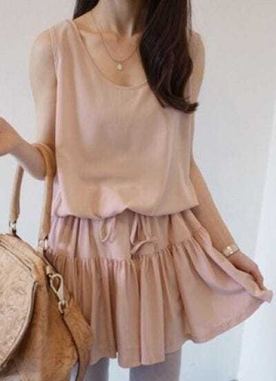 Nude Sleeveless Drawstring Ruffle Hem Short Tank Dress