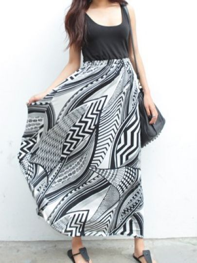 Black Graffiti Print Maxi Chiffon Tank Dress