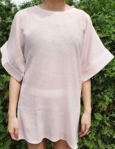 Nude Wide Short Sleeve Mini Sheer Shift Zip Back Dress