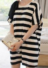 White Balck Striped Bow Tie Shoulder Batwing Short Sleeve T-shirt