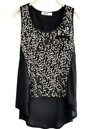 Black Sleeveless Sequined Dipped Hem Chiffon Blouse