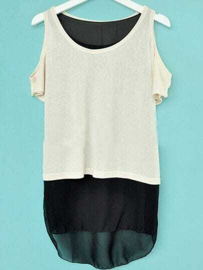 White Knitted Exposed Shoulder Contrast Chiffon Hem Blouse