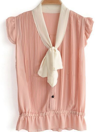 Pink Cap Sleeve Pleated Chiffon Pussy Bow Shirt