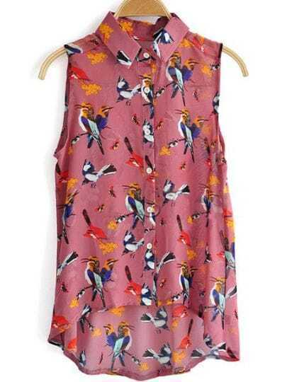 Red Sleeveless Birds Print High Low Chiffon Shirt