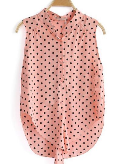 Pink Sleeveless Polka Dot Caged Tie Chiffon Shirt