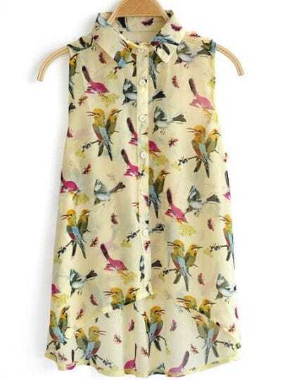 Beige Sleeveless Birds Print High Low Chiffon Shirt