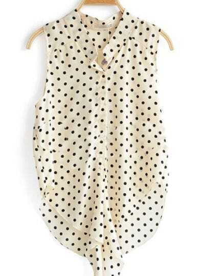 Beige Sleeveless Polka Dot Caged Tie Chiffon Shirt