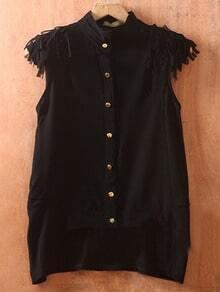 Black Sleeveless Tassel Shoulder Asymmetric Hem Shirt