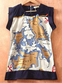 Navy Sleeveless Map Print Chiffon Banded Hem Zip Back Blouse