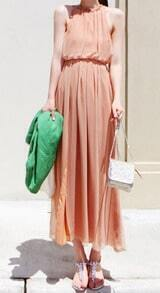 Nude Halter Top Sleeveless Split Front Pleated Maxi Dress