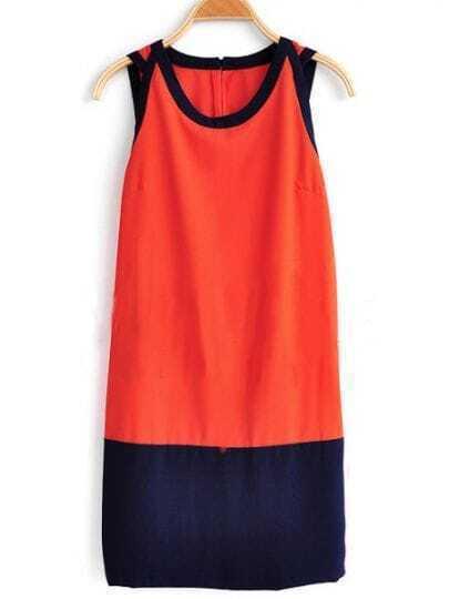 Red Round Neck Sleeveless Loose Chiffon Dress