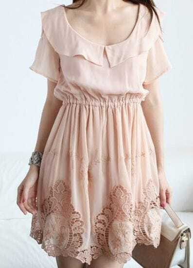 Pink Scoop Neck Short Sleeve Off the Shoulder Hollow Chiffon Dress