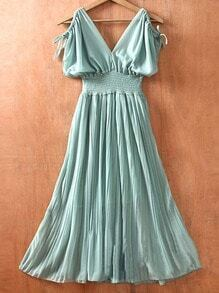 Green V Neck Off the Shoulder Pleated High Waist Chiffon Dress