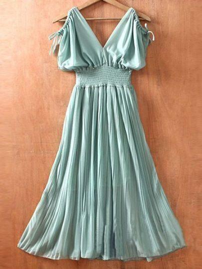 Green V Neck Off the Shoulder Pleated High Waist Chiffon Dress