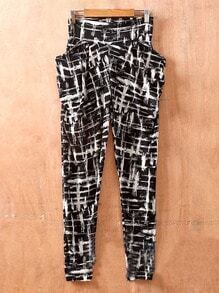 Plaid Street Mid Waist Elasic Skinny Pants