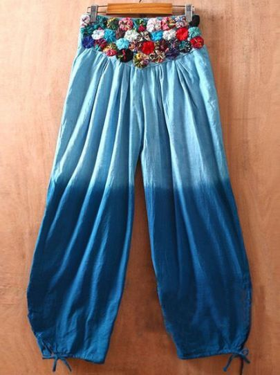 Blue Embroidery High Elasic Waist Loose Cotton Pants
