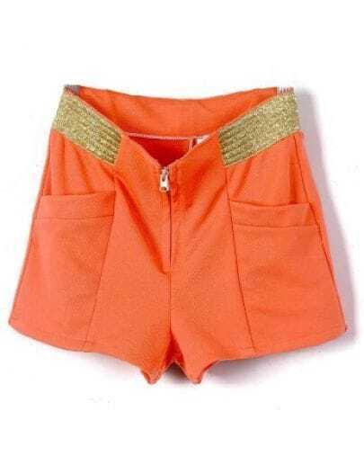 Red Zipper Fly Mid Waist Cotton Blends Shorts