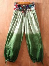 Green Embroidery High Elasic Waist Loose Pants