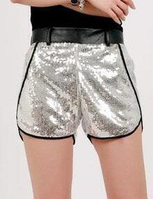 Silver Mid Waist Sequined Polyester Shorts