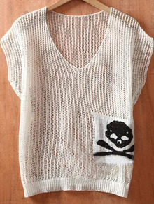 White V Neck Short Sleeve Batwing Skull Print Hollow Sweaters