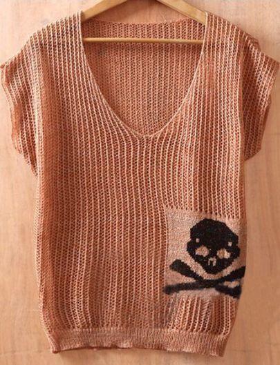 Khaki V Neck Short Sleeve Batwing Skull Print Hollow Sweaters